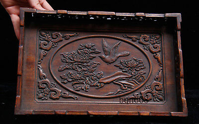 China old antique huang huali wood flower bird Banquet food wine Tray