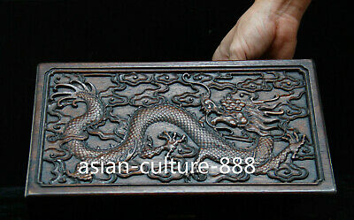 old china antique handcarved Huang huali Wood dragon box & lock