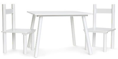 White Wooden Art Craft Table and 2 Chairs Set for Kids Children Toddler New Fun