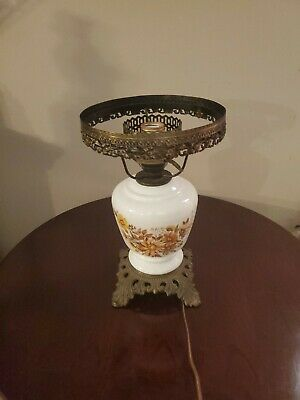 Vintage Gone With The Wind Lamp Wild Flowers Hurricane Electric, No Top Globe