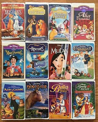 12 Disney Gold Masterpiece VHS Movies Aristocats Sleeping Beauty Belle Rescuers