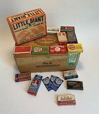 Vintage Razor Blade Collection, Little Giant Planer & Cigar Box
