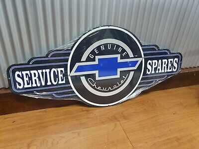 Genuine Chevrolet Parts metal tin sign bar hot rod chev bowtie