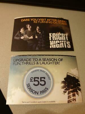 2 tickets to Thorpe Park Monday 16th September (little rectangle tickets)