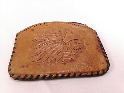 Vintage Hand Tooled Leather Coin Purse Mexico Native Zip Shut