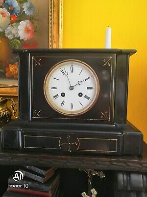 Antique Marble, Slate French Mantel Clock 1855 in good working order