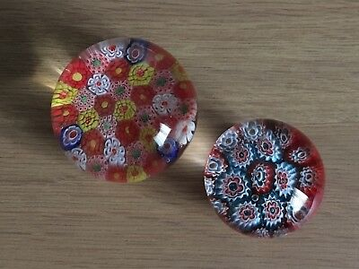 Glass Millefiori Style Paperweights (possible John Deacons)