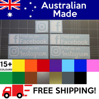 6 x Decals Find Us On Facebook Stickers Instagram - Business Pack!