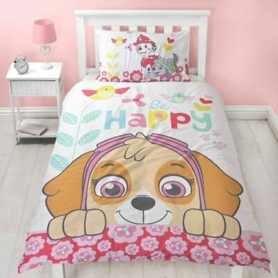 Offical Paw Patrol Reversible Single Duvet Cover & Pillowcase Pink Skye Girls