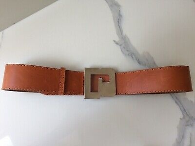 Paco Rabanne Vintage Tan Leather Belt Made In France Size 42