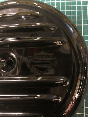 "Harley Black 8"" Rib Air Box Cover Bobber Retro Softail FXR Dyna Sportster Old HD"