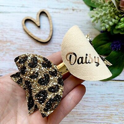 Leopard Print Glitter Bow, Wild Hair Clip, baby headband, personalised with name