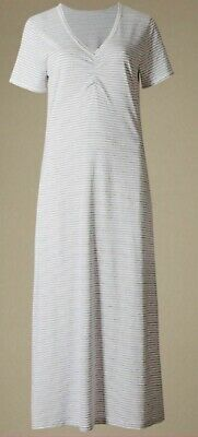 NEW SIZE 8 --20 Ex M S COTTON GREY WHITE SHORT SLEEVE LONG NIGHTDRESS NIGHTIE