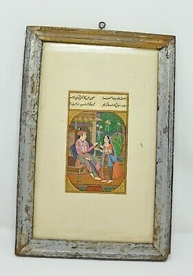 Original Old Antique Fine Water Color Miniature Painting Maharaja Akbar And Quee