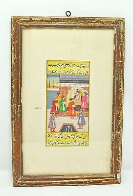 Original Old Antique Fine Water Color Miniature Painting Maharaja Akbar Court Sc