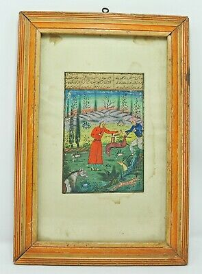 Original Old Antique Fine Water Color Miniature Painting Maharaja Hunting Scene
