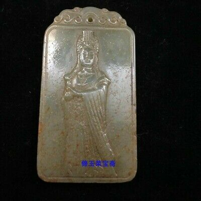 """3"""" Chinese antique Natural handcarved hetian jade guanyin Bodhisattva Pendant"""