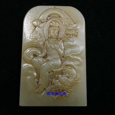 """3"""" Chinese old Natural carved hetian white jade dragon Guanyin statue Pendant"""