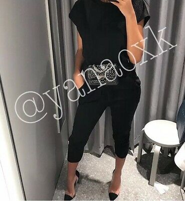 8ff91485196a ZARA BLACK JOGGING Trousers Crop Top Matching Set Co Ord Size S ...