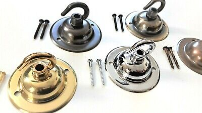 """Solid Brass Ceiling Rose Hook Plate Fixing Plate with 1 1/4 """" screws 5 finishes"""