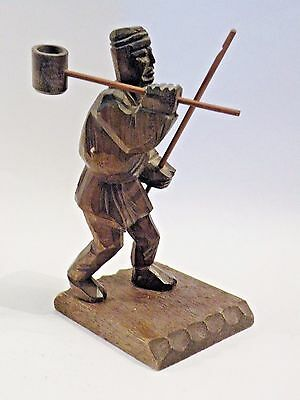 FaF9 ETHNOGRAPHIC WOOD CARVING OF MAN holding staff and dipper
