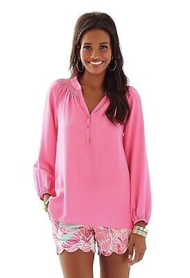 9e33f213096cb2 LILLY PULITZER Pink Elsa Blouse Large Silk Long Sleeve Signature Buttons Top
