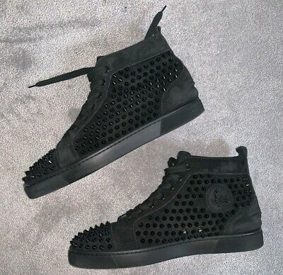 finest selection 44c6f ed67e RRP £945 CHRISTIAN louboutin men's high top suede black spike trainers