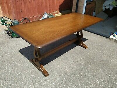 Priory Oak Refectory Dining Table (Vintage, Retro, Antique, Solid, Kitchen ?)