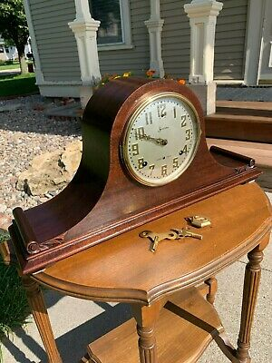 Restored Antique Pre WWII 1928 Chiming Sessions Westminster #3 Mantel Clock Gold