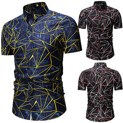 Casual T-Shirts Button Down Polo Neck Men's Shirts Printed Summer Short Sleeve