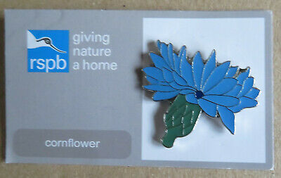 RSPB pin badge cornflower on -  gnah - Starling ERROR card - combined postage