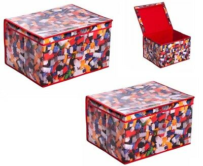 2 x Large Storage Chest Children Foldable Pop Up Toy Book Box Tidy Bricks Design