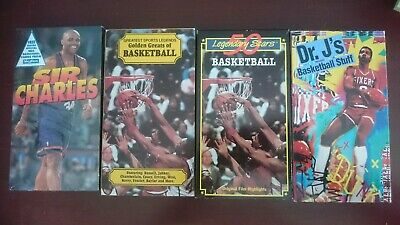 Lot Of 4 Vintage NBA Basketball VHS Tapes Charles Barkley Dr. J Wilt Kareem West