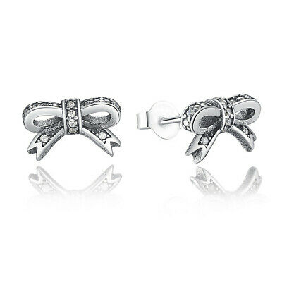 Sparkling Bow Stud Earrings With Clear Women Party Jewelry