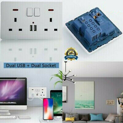UK Mains Power Socket With 2 USB Charging Port Connection Wall Plate Plug Switch