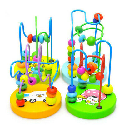 Wooden Baby Math Toys Kids Counting Circles Bead Abacus Wire Maze Roller