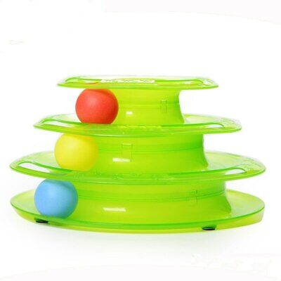 Pet Cat Toy Funny Ball Disk Interactive Amusement Plate Plastic Trilaminar
