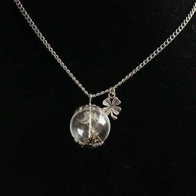 Glass Bottle Dandelion Four Leaf Clover Long Chain Necklace Women Dried Flowers