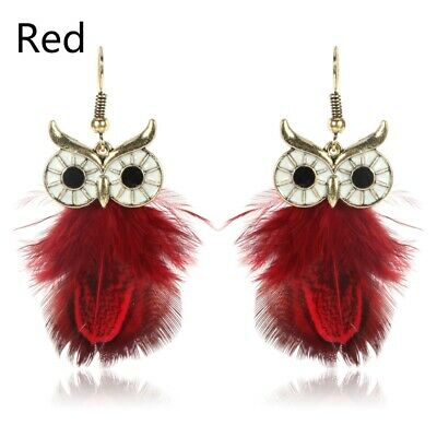 Fashion New Temperament Personality Owl Cute Gradient Feather Earrings