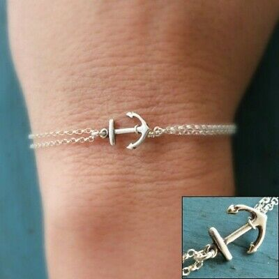 Silver Anchor Bracelet Beach Wedding Sterling Silver Chain Bridesmaid Jewelry