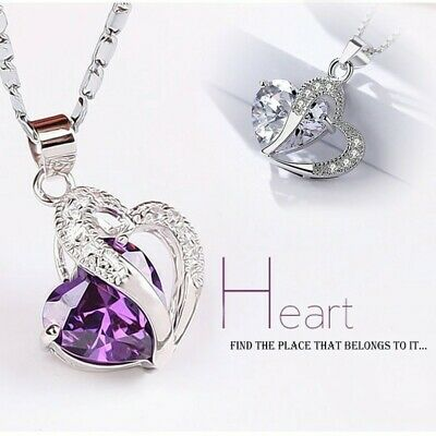 Silver Crystal Gemstone Amethyst Heart Pendant Necklace Engagement Jewelry