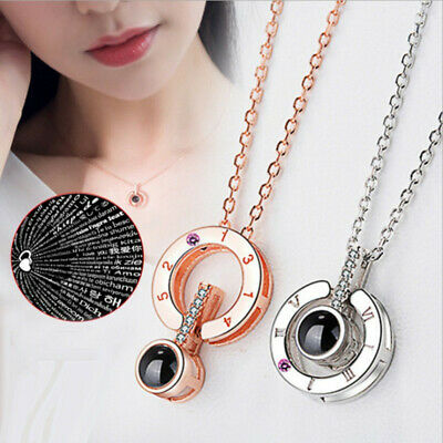 Projection I Love You Pendant Necklace For Women Romantic Choker Necklace Love