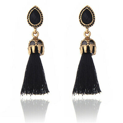 Long Tassel Earrings for Women Pendientes Fashion Jewelry Black and Red Colors