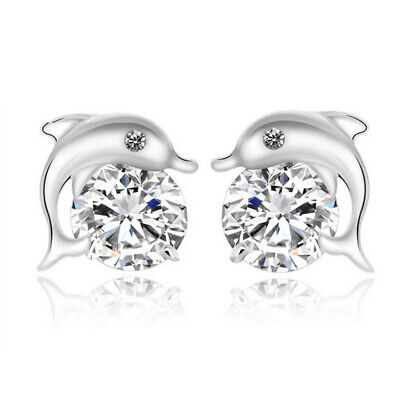 Sparkling White Sapphire Eye Dolphin Stud Earrings Women's Shiny Jewelry