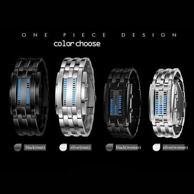 Electronic LED Watch Luminous Men Blue Binary Sport Stainless Steel Digital US