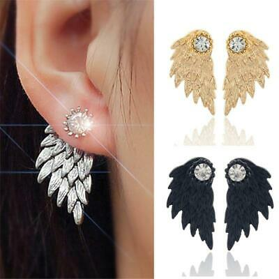 Vintage Gothic Angel Wing Alloy Stud Earrings Cool Black Antique Silver Color