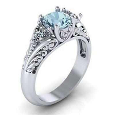 Antique Style 925 Sterling Silver Round Aquamarine Floral Engagement Promise