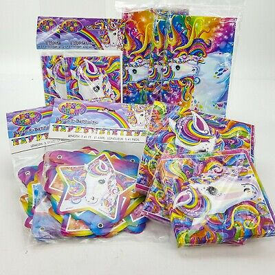8 RAINBOW MAJESTY Lisa Frank Birthday Party Supplies Large 9 Dinner