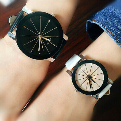 Women Men Casual Simple Quartz Analog Watch Gold Leather Band Wrist Watches