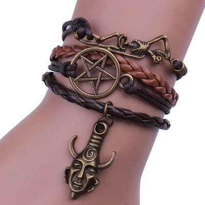 Retro Bracelet Necklace Pendant Wicca Jewelry Protection Amulet Leather Rope